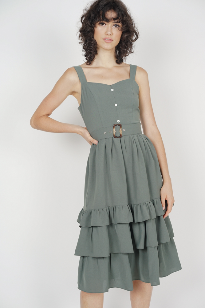 acb743fb92c39e Odette Ruffled Dress in Sage