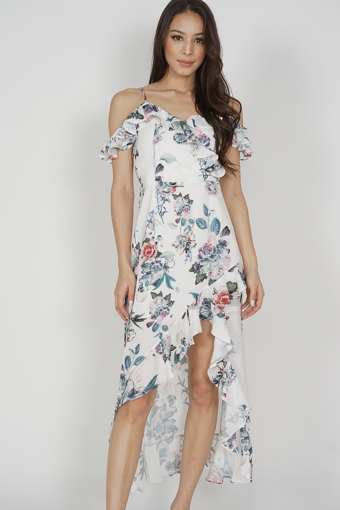 Asymmetrical Frilly Dress in White Floral - Arriving Soon