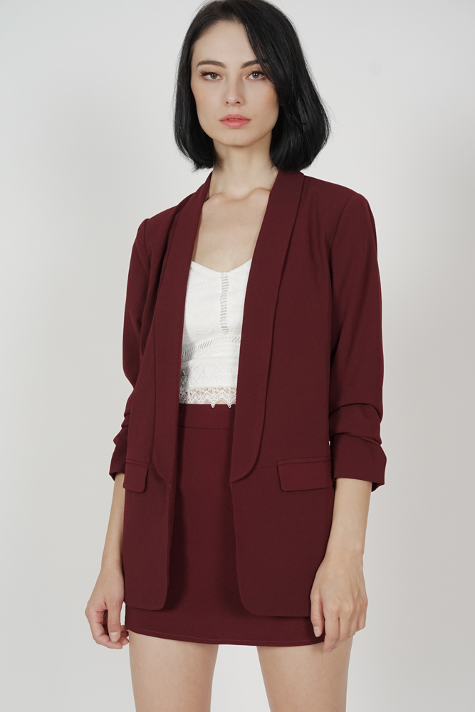 Maizel Gathered Sleeve Blazer in Oxblood