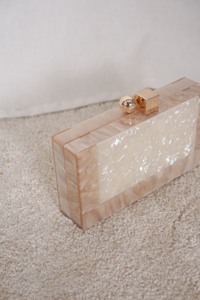 Mina Marble Clutch in Pink White