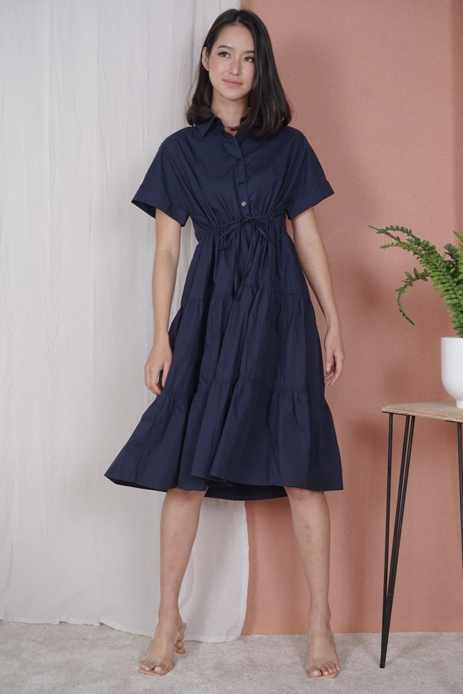 Cabello Buttoned Dress in Midnight - Arriving Soon