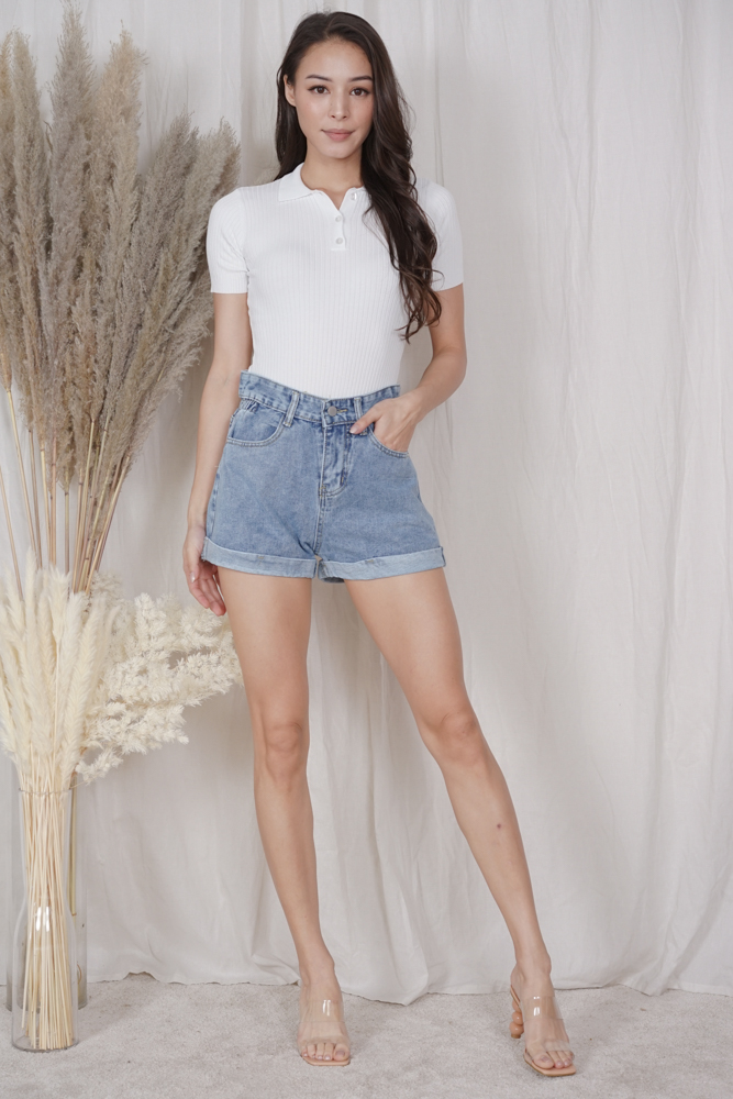 Evalyn Denim Shorts in Blue - Online Exclusive