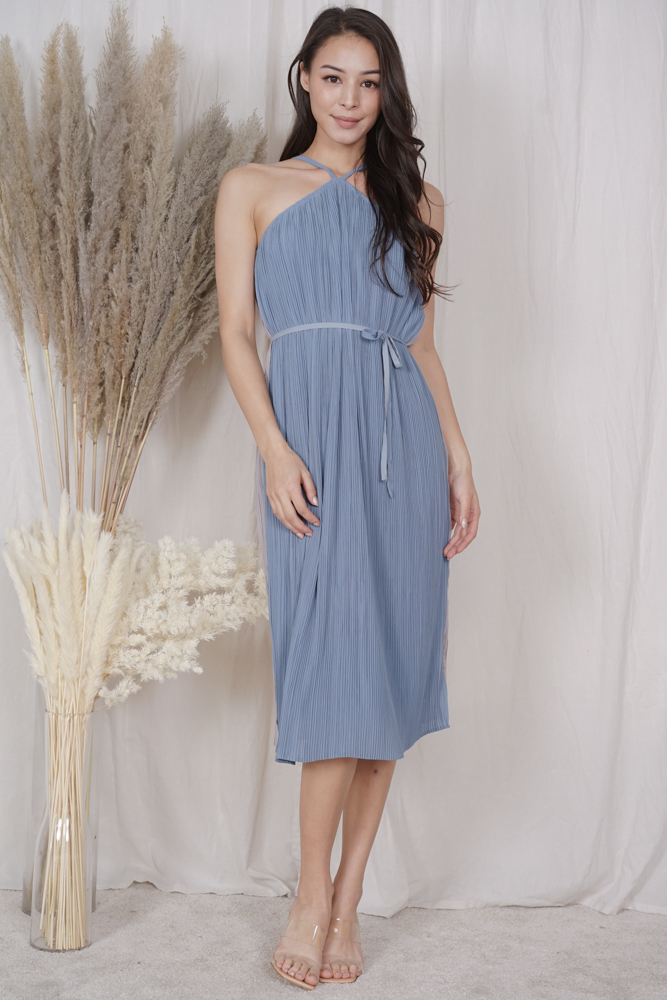 Ukon Two-Tone Dress in Blue Grey - Arriving Soon