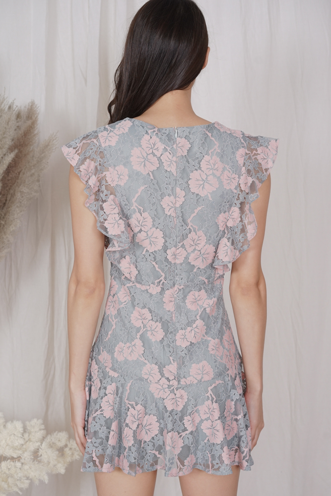Astiel Lace Romper in Blue Pink - Arriving Soon