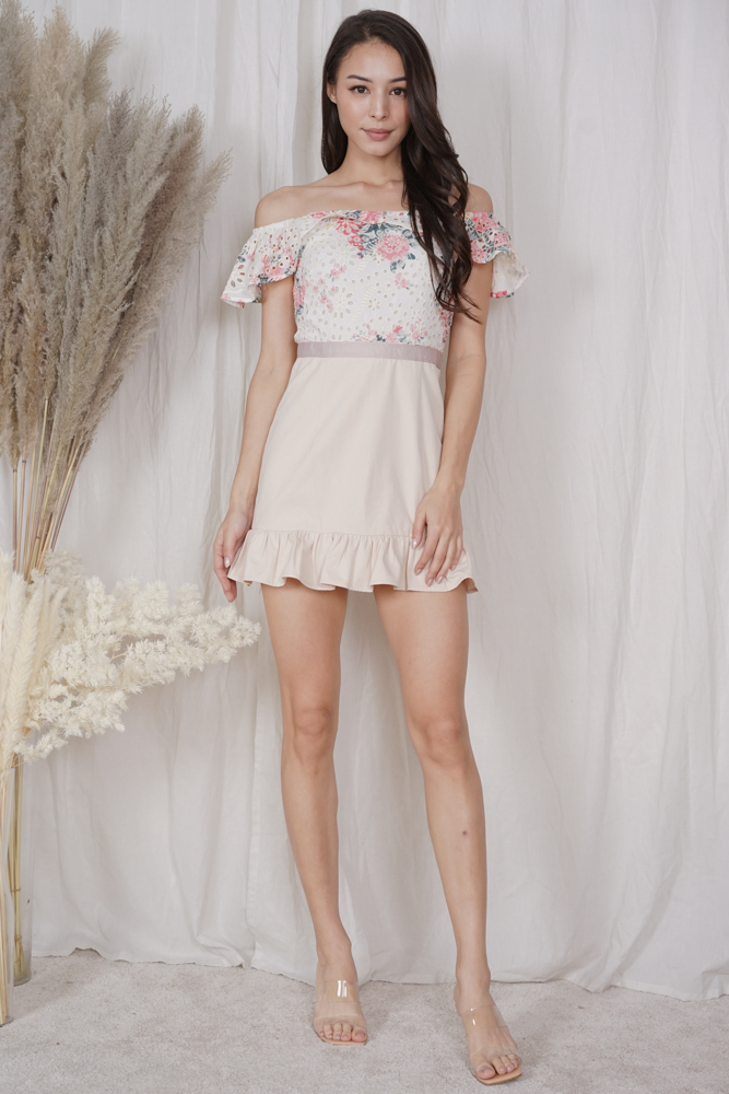 Chester Ruffled-Hem Skorts Romper in Cream Floral - Arriving Soon