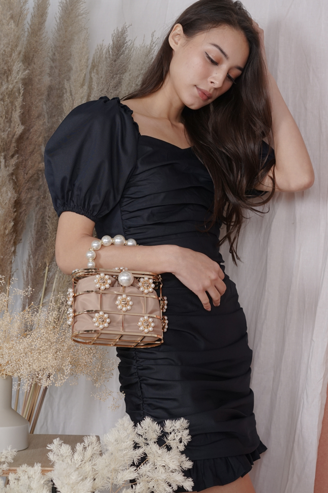 Sade Pearl Caged Bag in Gold