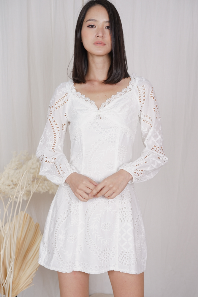 Nickole Eyelet Dress in White - Arriving Soon