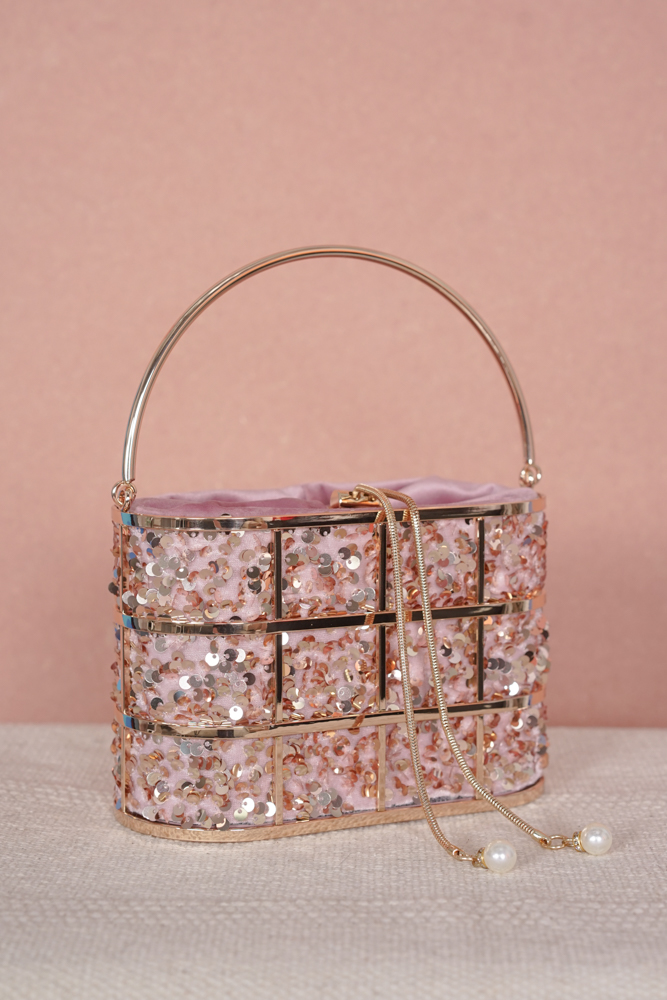 Siena Sequin Caged Bag in Pink