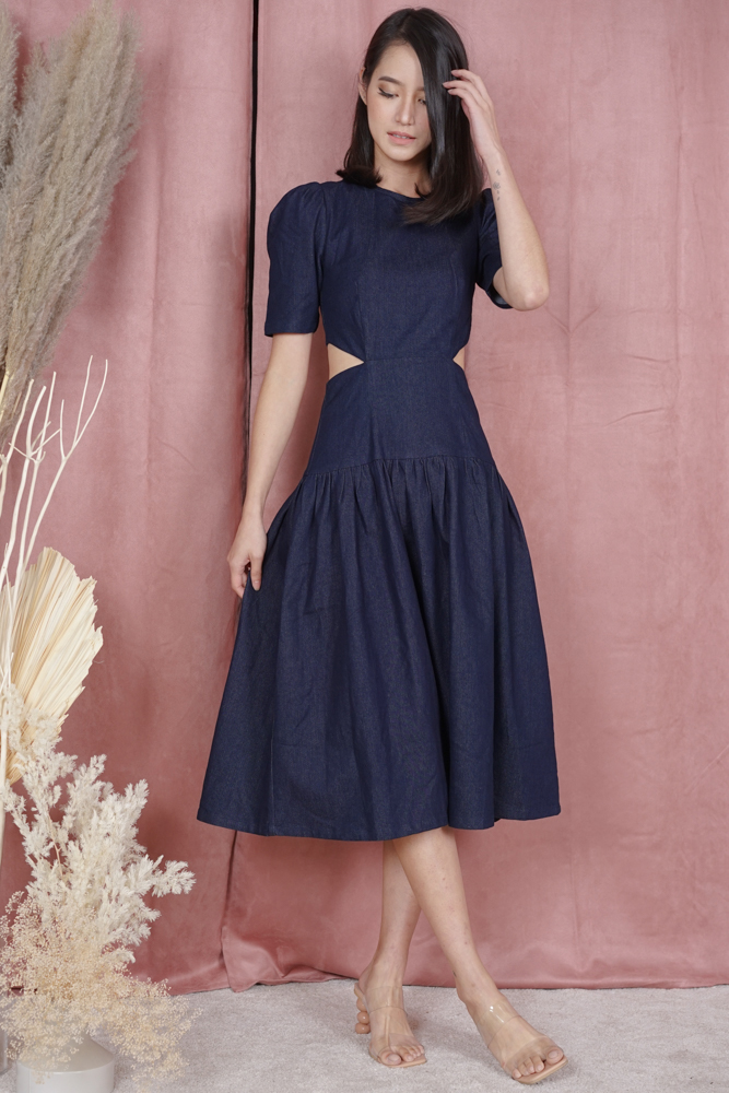 Sarina Contrast Cutout Dress in Blue Denim - Arriving Soon