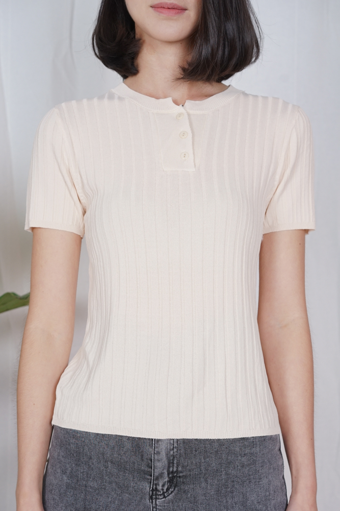 Kusha Buttoned Top in Cream - Online Exclusive