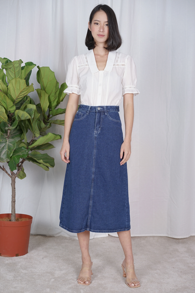 Nurma Denim Skirt in Dark Blue - Online Exclusive