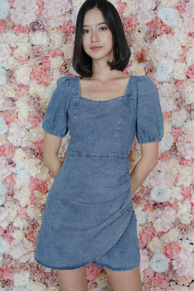 Daniol Puffy Dress in Dark Blue - Online Exclusive