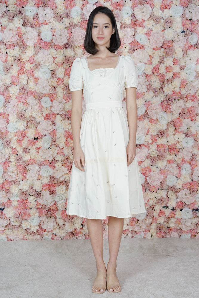 Nicolai Gathered Dress in Cream - Online Exclusive